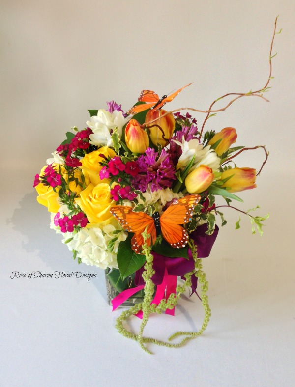 Mixed Spring Arrangement with Butterfly Accents, Rose