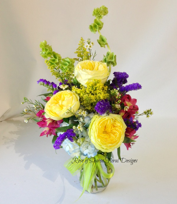 Garden Roses with Alstroemeria and Bells of Ireland, Rose of Sharon Floral Designs