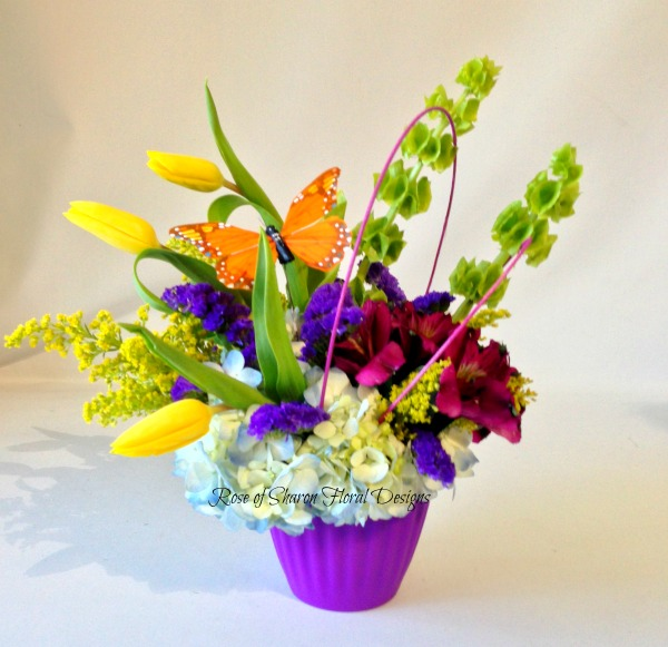 Tulips, Bells of Ireland, Alstroemeria and Hydrangeas, Rose of Sharon Floral Designs