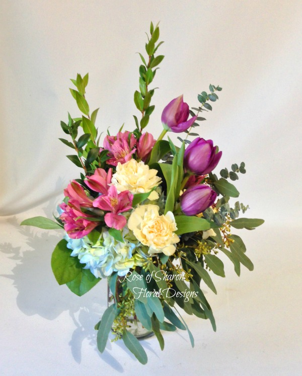 Hydranega, Tulips, Carnations and Alstroemeria, Rose of Sharon Floral Designs