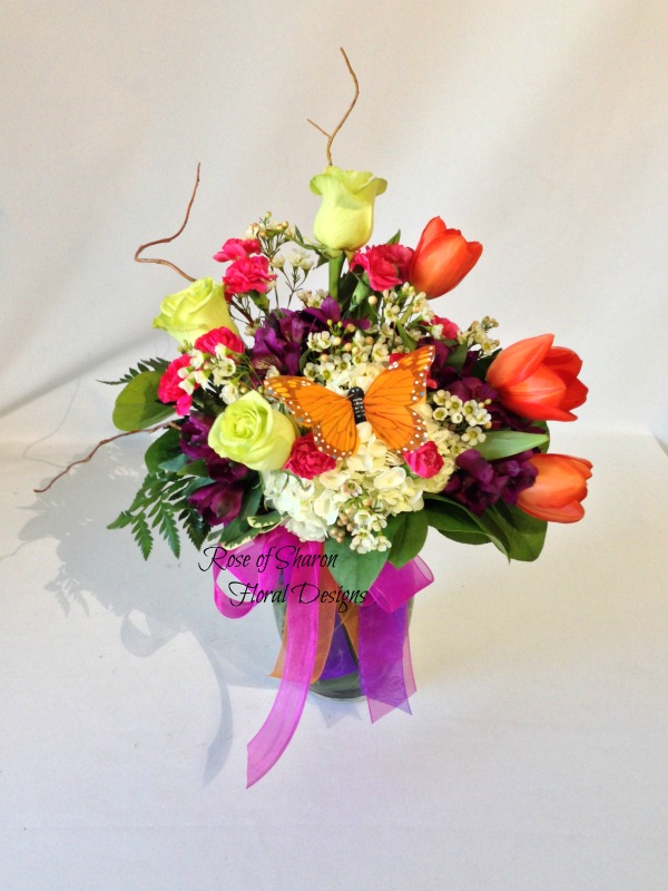 Spring Arrangement with Tulips, Rose of Sharon Floral Designs