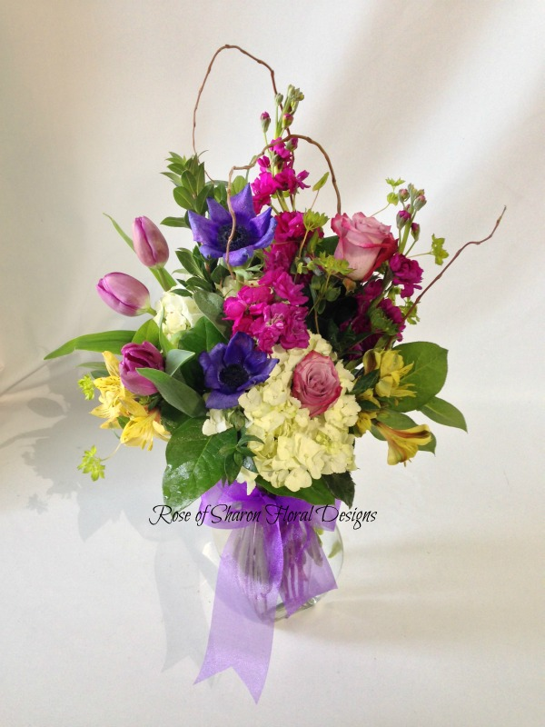 Hydrangeas, Roses, Tulips and Stock, Rose of Sharon Floral Designs