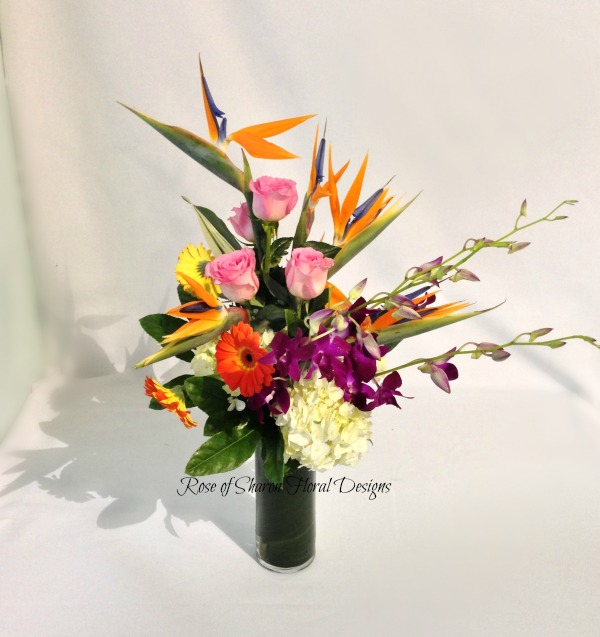 Birds of Paradise, Orchids, Daisies and Hydrangeas, Rose of Sharon Floral Designs
