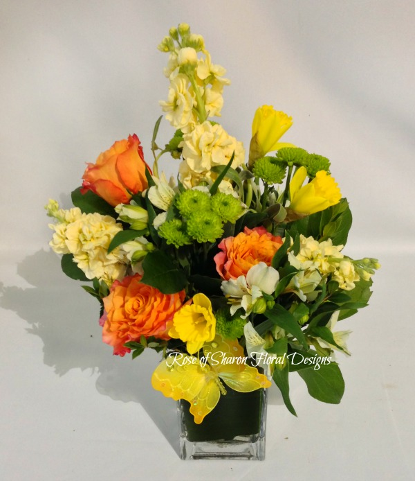 Free Spirit Roses with Stock and Daffodils, Rose of Sharon Floral Designs