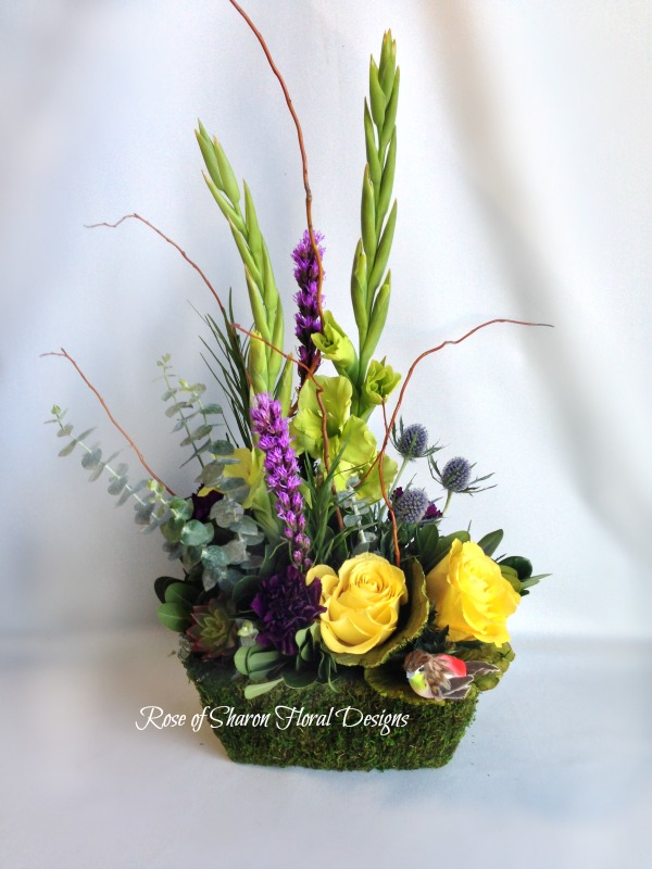 Contemporary Arrangement with Gladiolus and Roses, Rose of Sharon Floral Designs