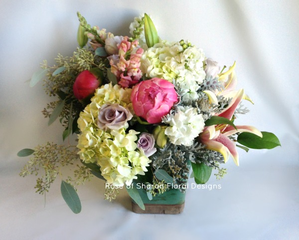 English Garden Spring Arrangement with Peonies, Rose of Sharon Floral Designs
