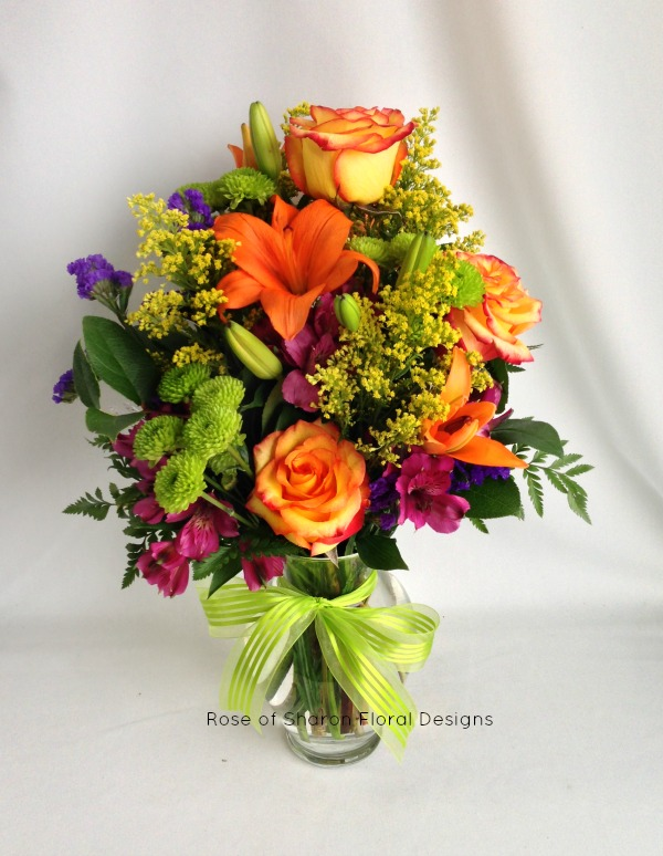 Mums, Lilies, Roses and Alstroemeria, Rose of Sharon Floral Designs