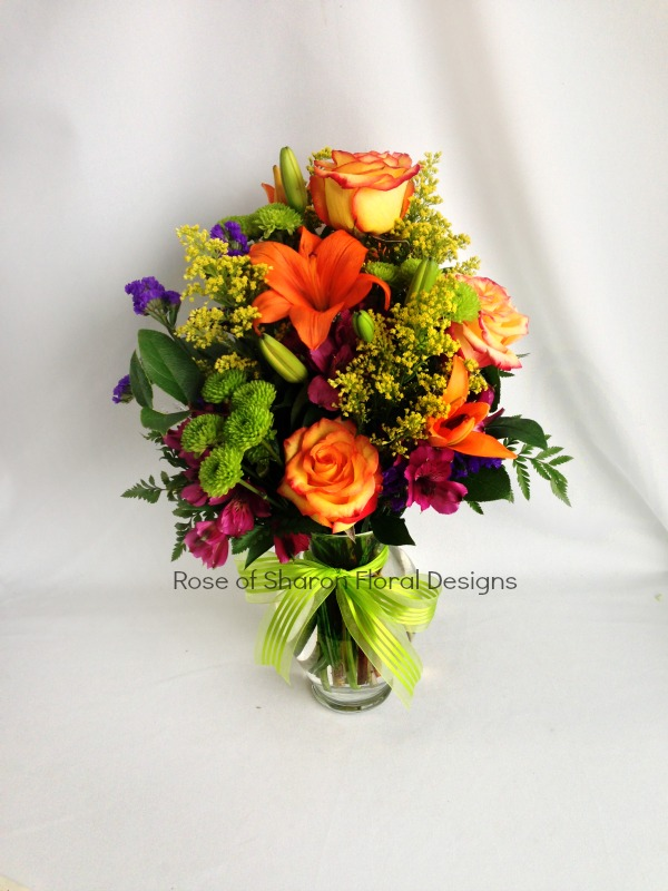 Orange and Green Arrangement, Rose of Sharon Floral Designs