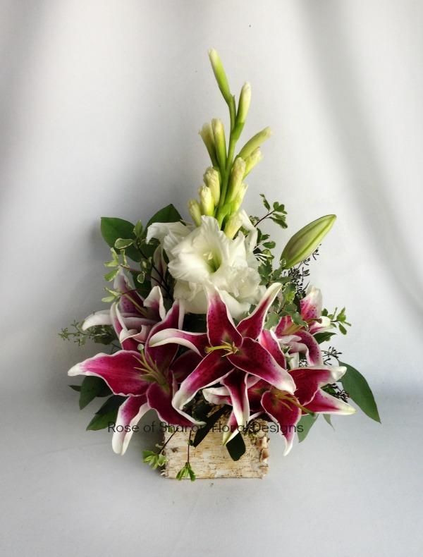 Gladiolus and Lilies in a Birch Container, Rose of Sharon Floral Designs