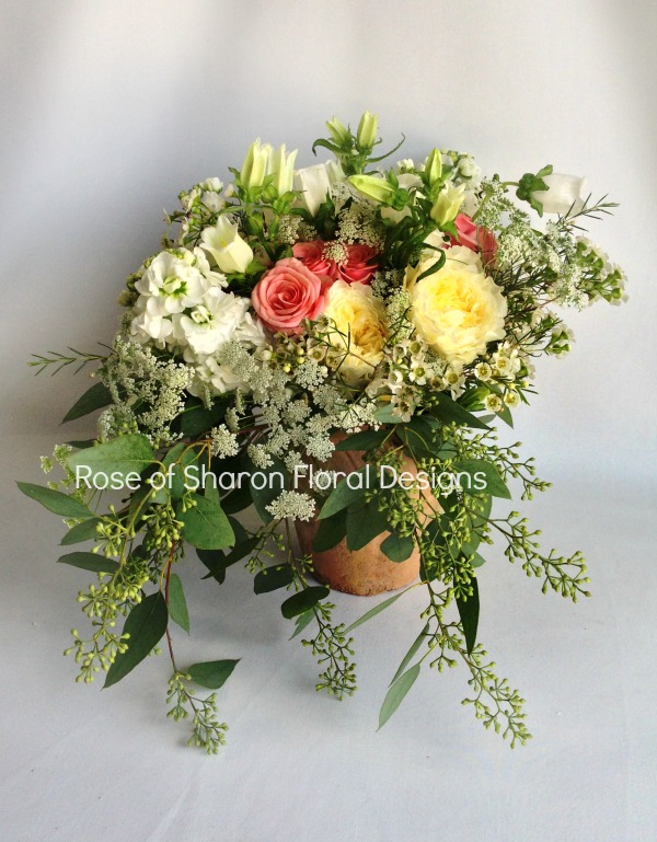 English Garden Arrangement, Rose of Sharon Floral Designs