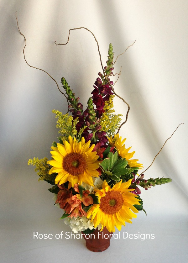 Sunflowers, Snapdragons and Alstroemeria, Rose of Sharon Floral Designs