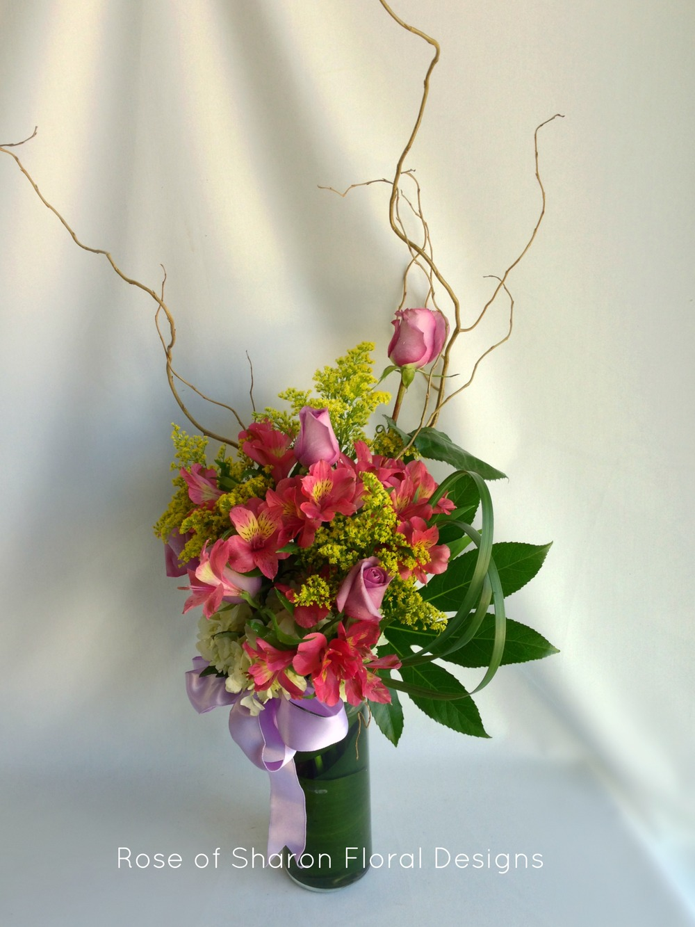 Contemporary Alstroemeria, Solidago and Rose Arrangement, Rose of Sharon Floral Designs