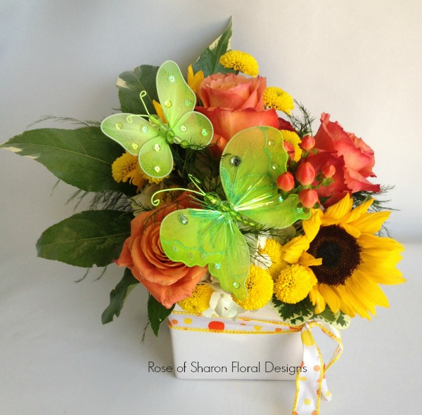 Peach and Yellow Arrangement featuring Sunflowers, Roses and Butterfly Accents, Rose of Sharon Floral Designs