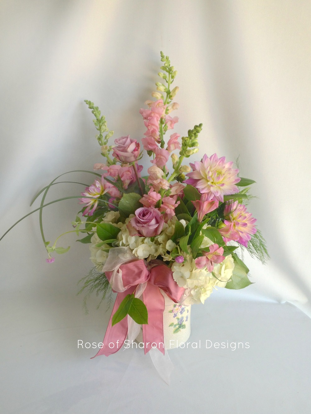 Purple Baby Girl Arrangement with Dahlias and Roses, Rose of Sharon Floral Designs