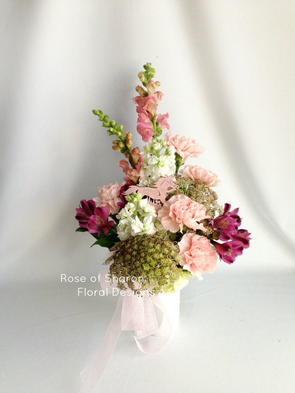 Pretty in Pink Baby Girl Arrangement with Stock, Carnations and Alstroemeria Lilies, Rose of Sharon Floral Designs
