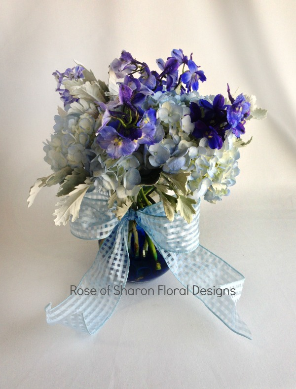 Blue Eyed Baby Boy Arrangement, Rose of Sharon Floral Designs