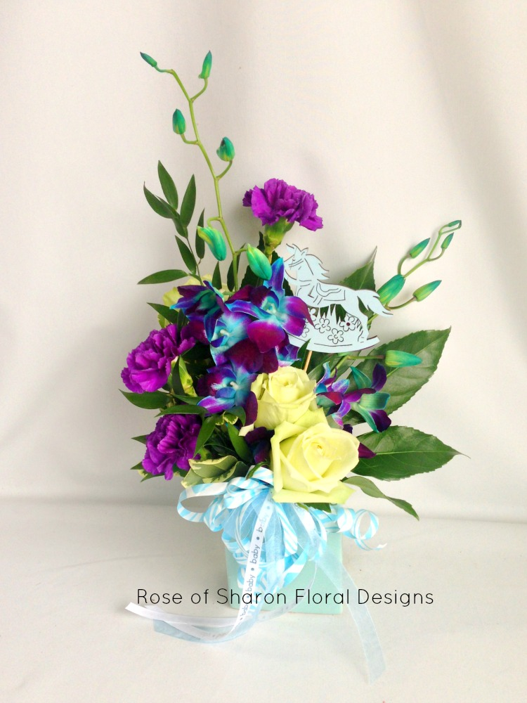 Brand New Baby Arrangement with Carnations, Roses and Orchids, Rose of Sharon Floral Designs