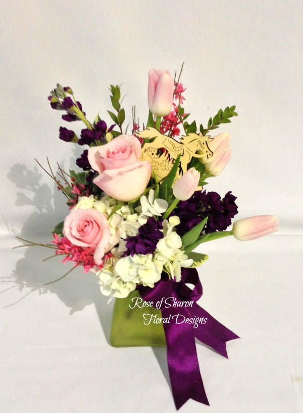 Baby Girl Arrangement with Roses, Tulips and Stock, Rose of Sharon Floral Designs