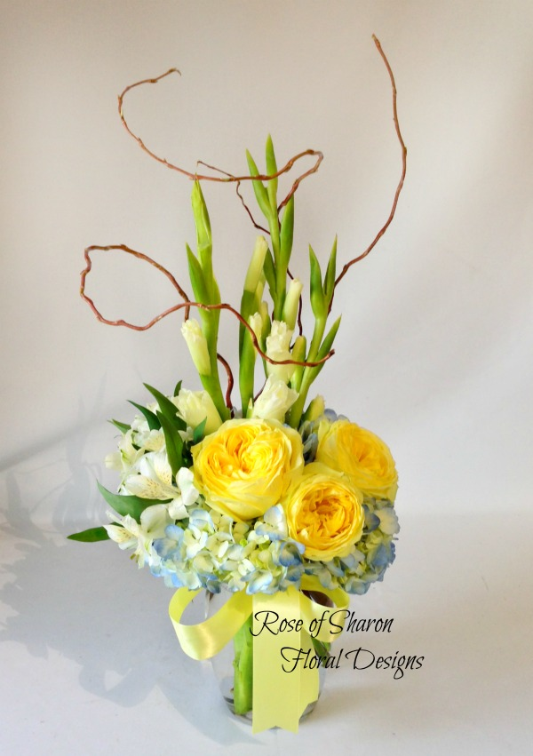 Baby Arrangement with Garden Roses, Alstroemeria Lilies and Gladiolus, Rose of Sharon Floral Designs