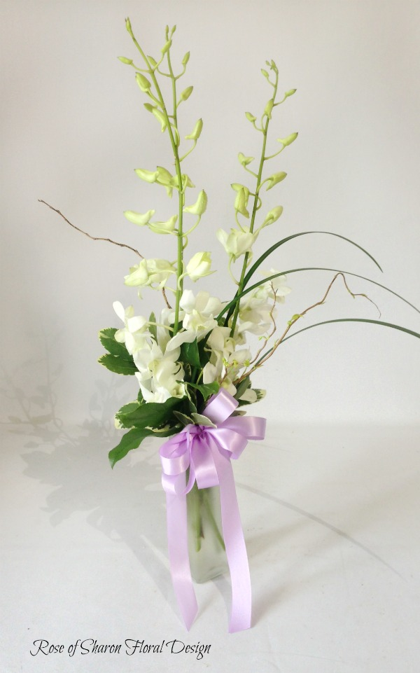 White Orchid Bud Vase, Rose of Sharon Floral Designs