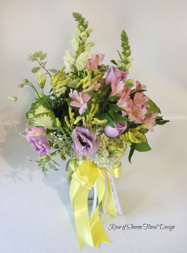 Mixed Spring Baby Arrangement in Pink and Purple, Rose of Sharon Floral Designs