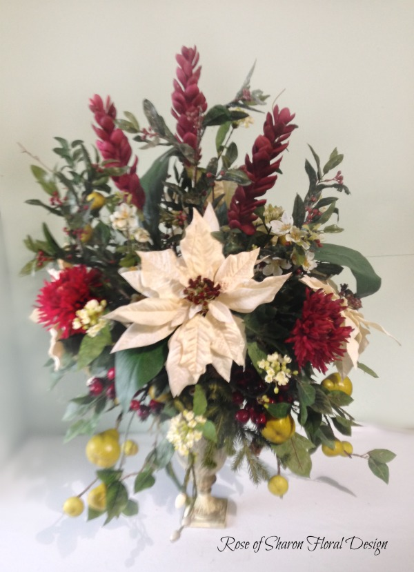 Silk Holiday Arrangement with White Poinsettias, Rose of Sharon Floral Designs