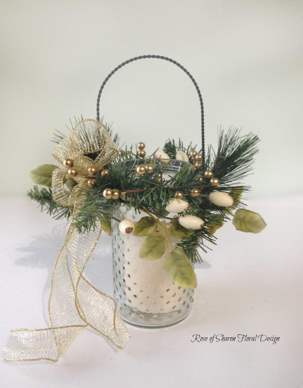 Silk Holiday Hanging Candle Holder, Rose of Sharon Floral Designs