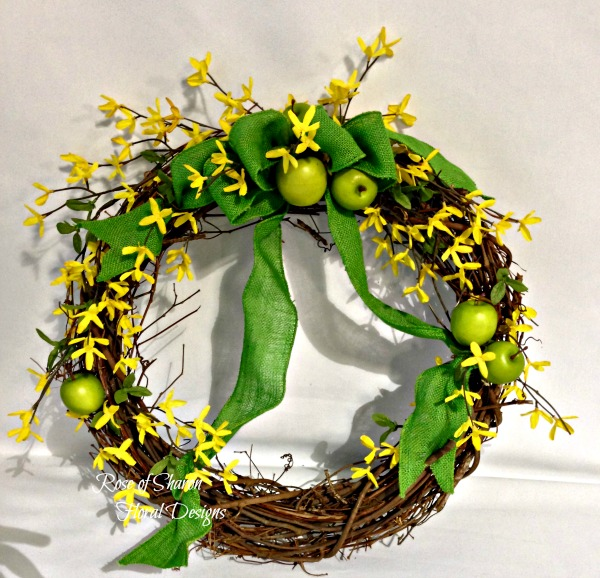 Apple Wreath with Forsythia, Rose of Sharon Floral Designs