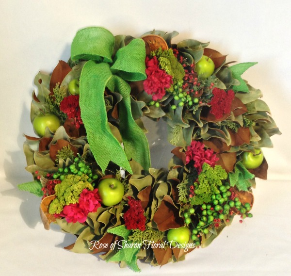 Green Orchard Wreath, Rose of Sharon Floral Designs