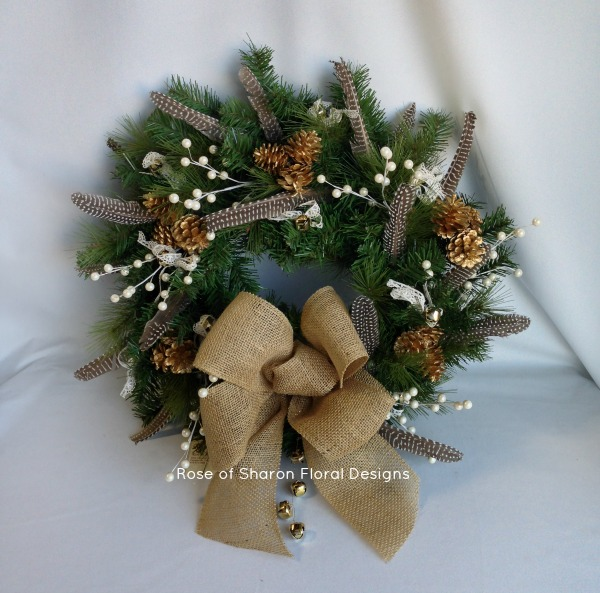Feather and Pine Cone Wreath, Rose of Sharon Floral Designs