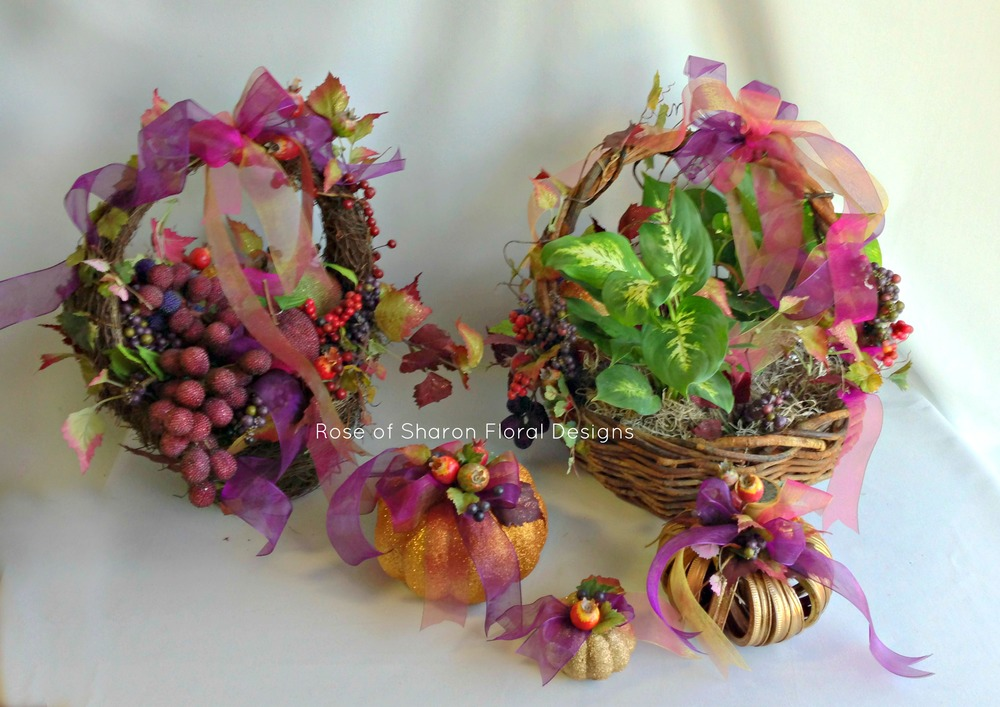 Fall Baskets, Rose of Sharon Floral Designs