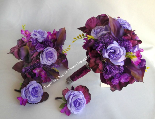 Purple Silk Bouquets and Boutonnieres, Rose of Sharon Floral Designs