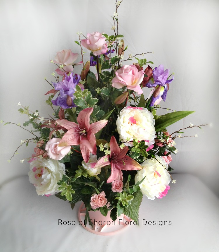 Silk English Garden Arrangement with Roses and Lilies, Rose of Sharon Floral Designs
