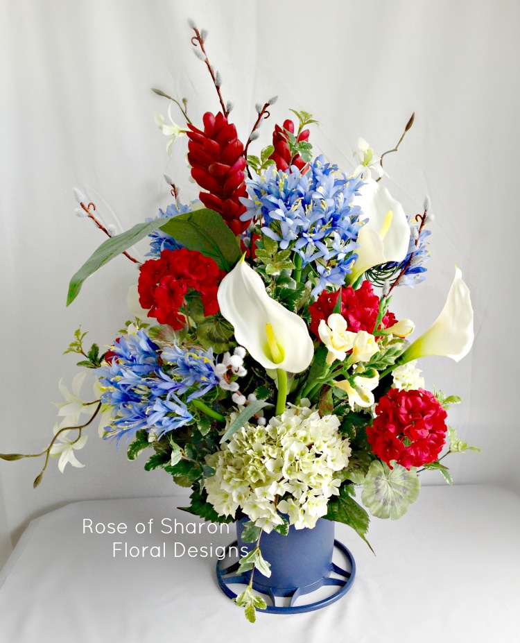 Red, White and Blue Silk Arrangement, Rose of Sharon Floral Designs