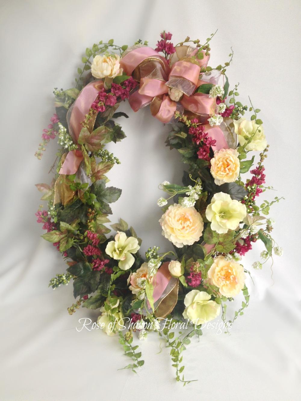 English Garden Silk Wreath, Rose of Sharon Floral Designs