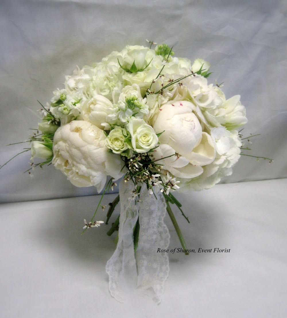White Hand-Tied Mixed Bouquet. Peonies, Spray Roses & Freesia. Rose of Sharon Floral Designs