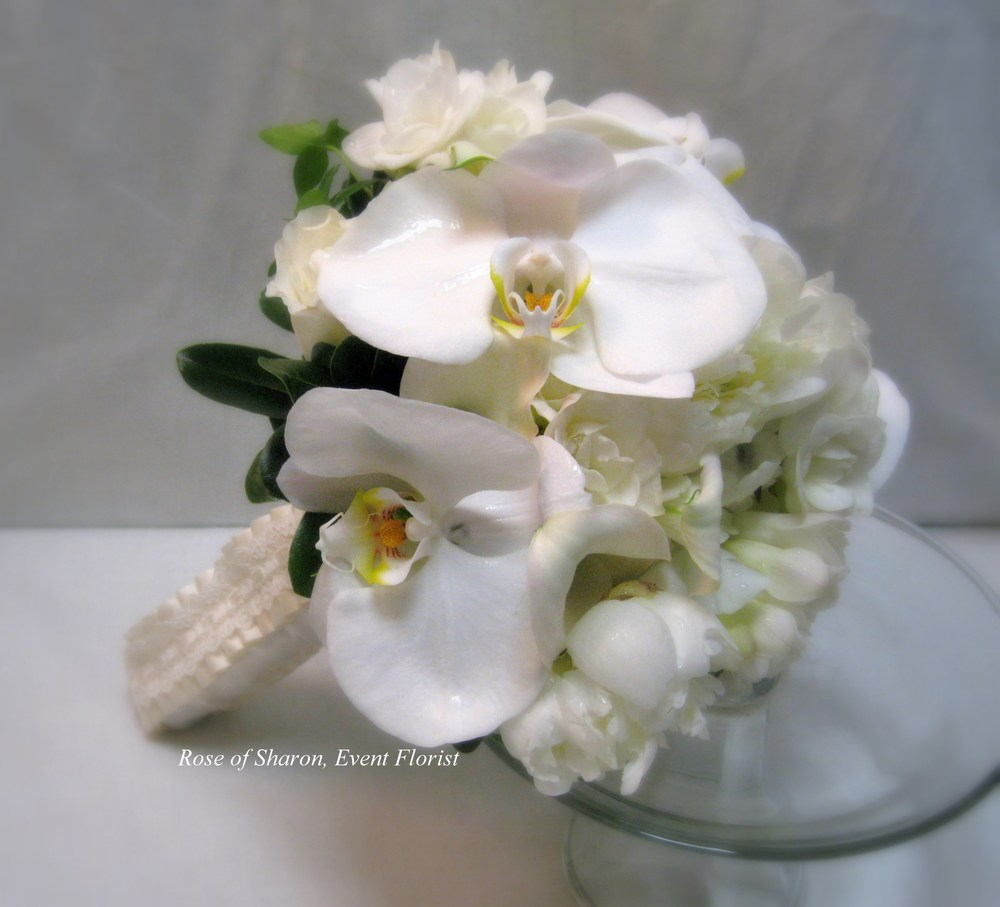 Hand-Tied White Orchid Bouquet. Rose of Sharon Floral Designs
