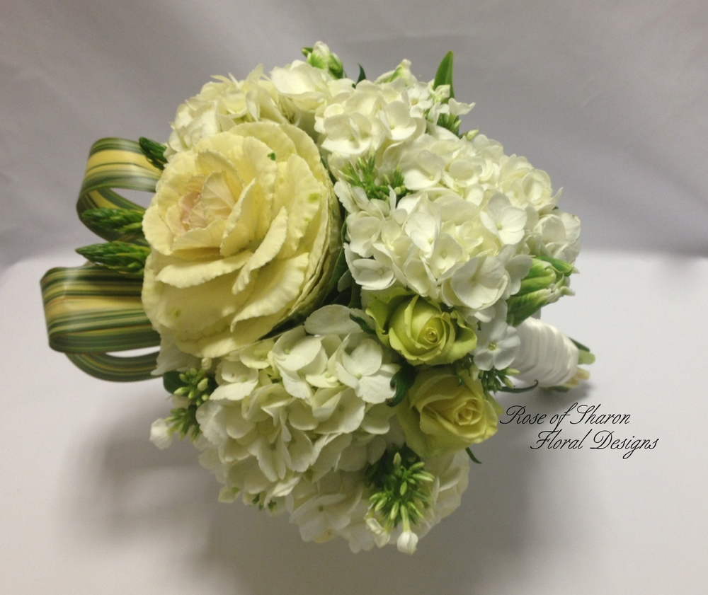 Hand-Tied Bouquet. Kale, Hydrangeas, Spray Roses & Phlox. Rose of Sharon Floral Designs