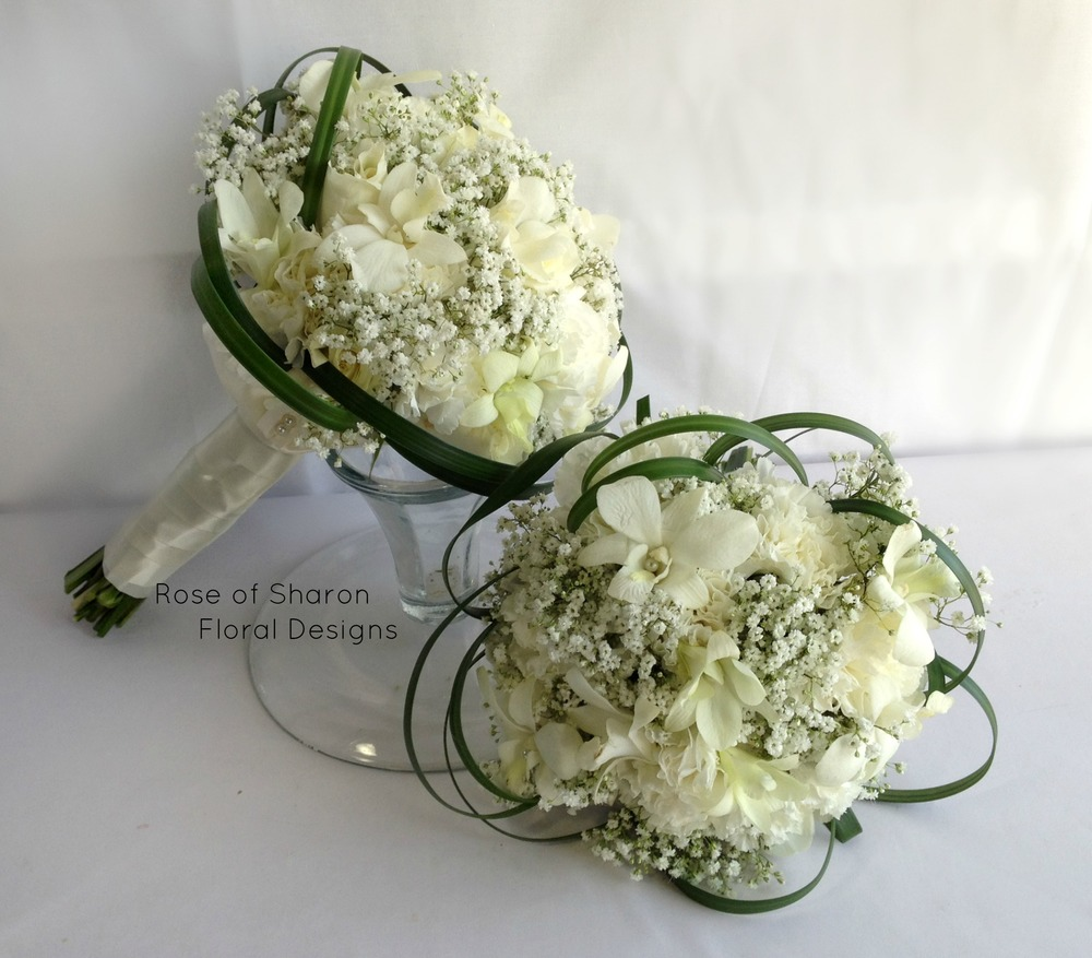 Hand-Tied Round Bouquets. Baby's Breath, Orchids & Carnations. Rose of Sharon Floral Designs