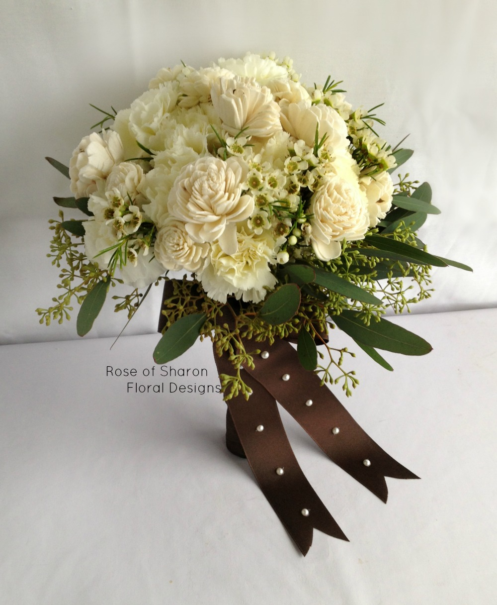 Hand-Tied Bouquet. Carnations, Wax Flower and Wood Roses. Rose of Sharon Floral Designs
