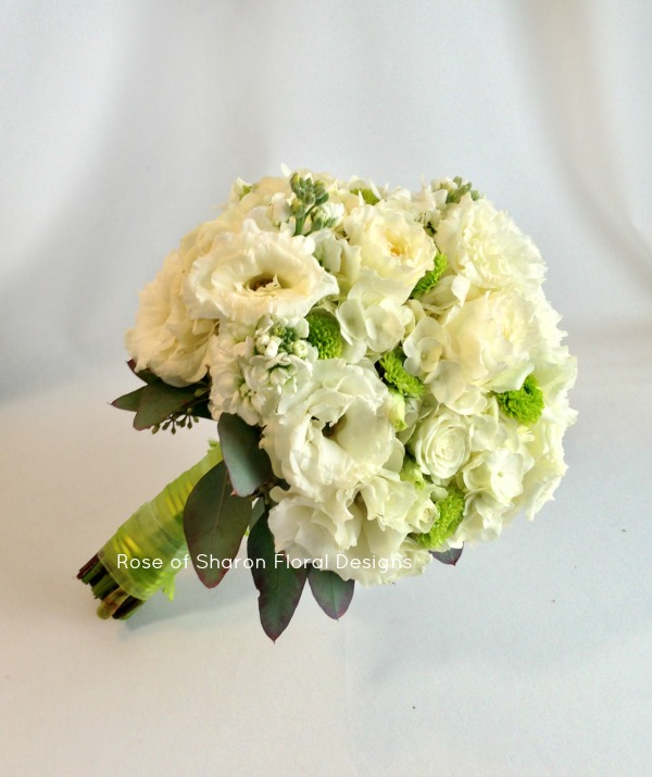 Hand-Tied Bouquet. White Roses, Mums, Lisianthus & Stock. Rose of Sharon Floral Designs