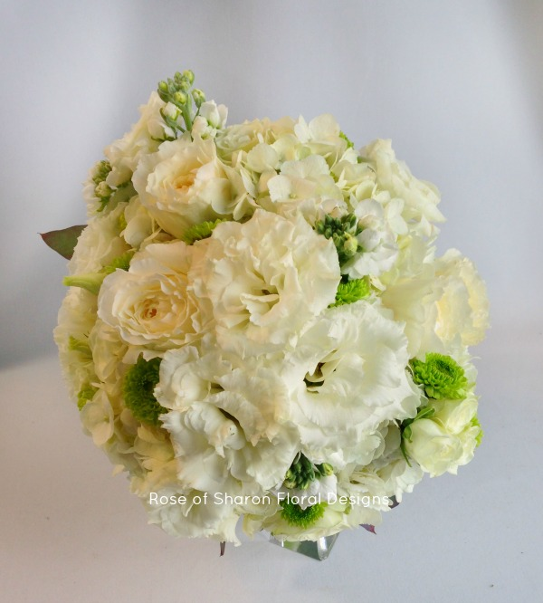 Round Bouquet. White Roses, Mums & Stock. Rose of Sharon Floral Designs