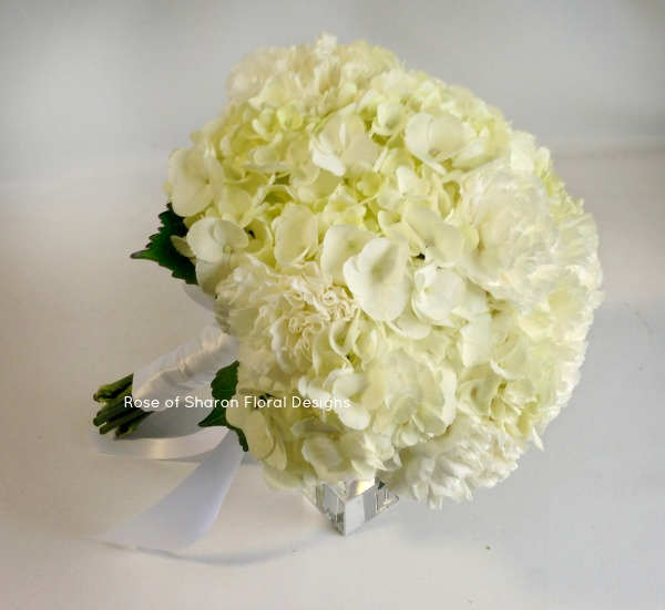 White Hand-Tied Carnation and Hydrangea Bouquet. Rose of Sharon Floral Designs
