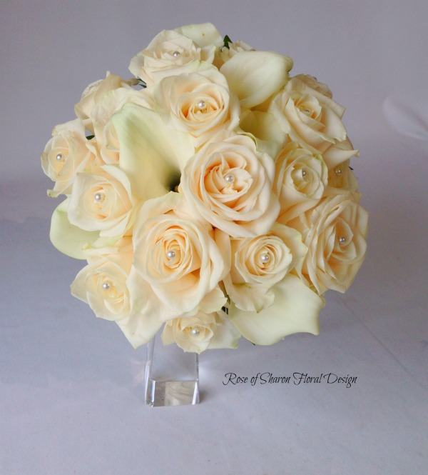 Round Bouquet. White Calla Lilies & Blush Roses. Rose of Sharon Floral Designs