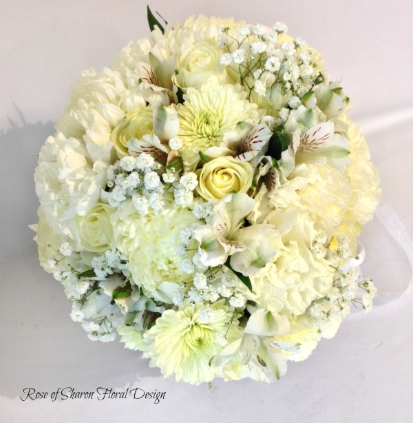 Hand-Tied Mixed White Bouquet. Carnations, Spray Roses, Mums, Baby's Breath & Alstroemeria. Rose of Sharon Floral Designs