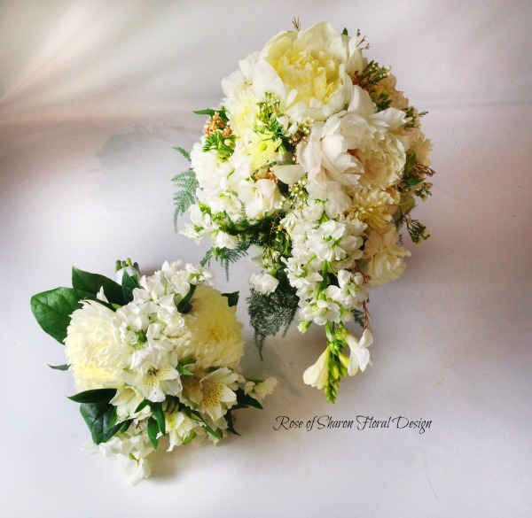 Teardrop Bouquet with matching Bridesmaids Bouquet. Peonies, Cushion Mums, Freesia & Stock. Rose of Sharon Floral Designs