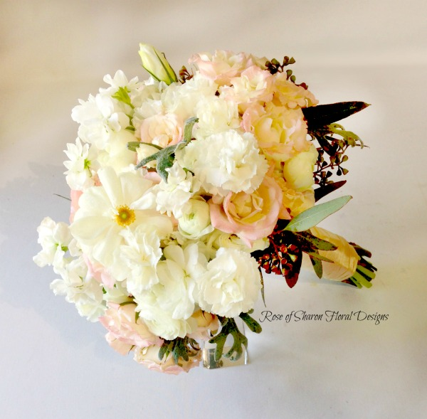 Mixed White Hand-Tied Bouquet. Pink Roses, White Carnations & Ranunculus. Rose of Sharon Floral Designs