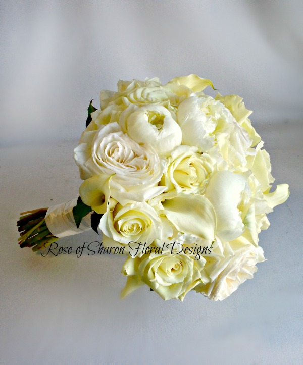 Hand-Tied Round Bouquet. White Roses, Peonies & Calla Lilies. Rose of Sharon Floral Designs