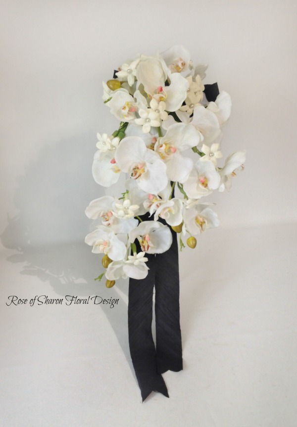 Teardrop Orchid and Stephanotis Bouquet. Rose of Sharon Floral Designs