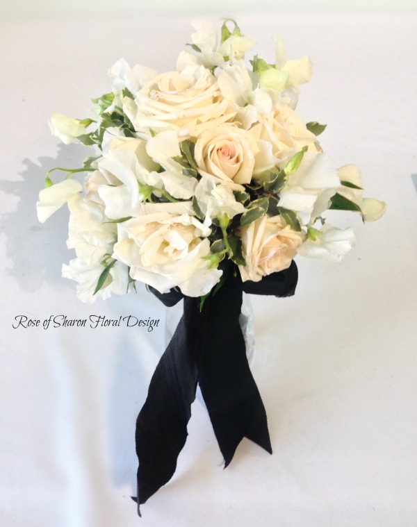 Hand-Tied Spring Mix Bouquet. Blush Roses, Lisianthus & Sweet Peas. Rose of Sharon Floral Designs